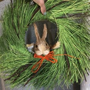 Easter spring bunny wreath with tags
